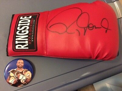 Roy Jones Jr. signed boxing glove, button, tickets.