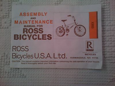 1988 Assembly Maintenance Manual Instructions User's Guide Ross Bicycles Bmx