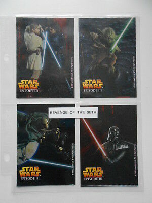 Star Wars Episode 3 four card stickers limited issued Duracell set