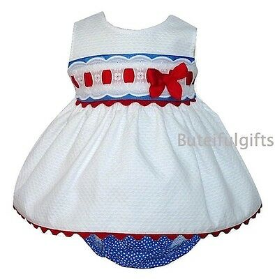 Girls Spanish White Waffle Slotted Broderie Anglaise Dress & Pants 0-3 6-12 Mth