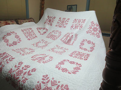 "Beautiful Hand Made Cross Stitch Quilt With Fine Background Quilting- 80"" X 94"""