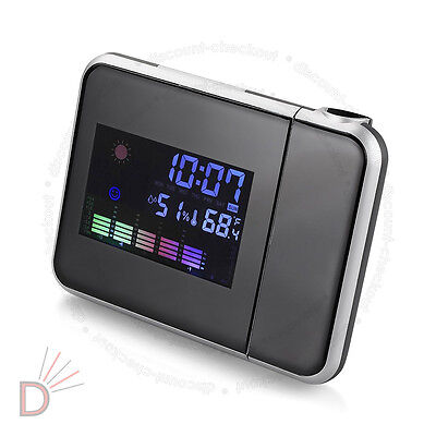 New Digital LCD LED Time Projector Snooze Colorful Alarm Temperature Clock UKDC