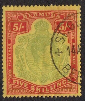 Bermuda KGVI 1939 5/-Pale Green & Red Yellow SG118a.St George Cancel Fine Used.
