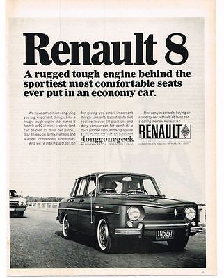 1966 Renault 8 Automobile Car Vtg Print Ad