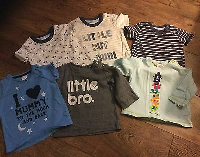 Baby Boys X 6 T-Shirts Age 6-9 Months -Mixed Brands