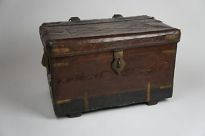 Antique Colonial Leather Campaign Chest Trunk