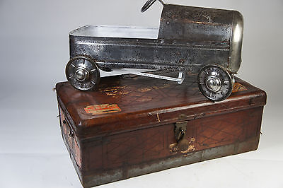 Beautiful Antique Colonial Leather Chest Trunks Luggage