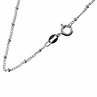 """Solid 925 Sterling Silver Ball Bead Curb Chain Necklace (14"""", 16"""", 18"""" & 20"""")"""