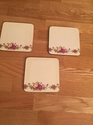 3 Royal Albert Old Country Roses Coasters, England