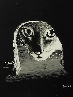 Vintage Rudy Droguett Cat and Mouse Print in Aluminum Frame Black & White