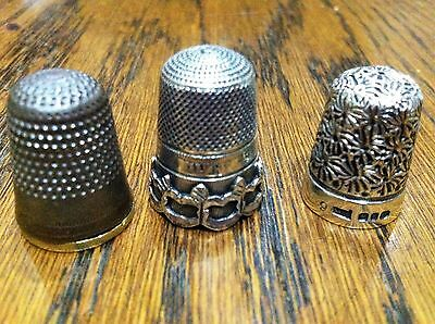 2 Silver Thimbles  Hallmarked and 1 not silver