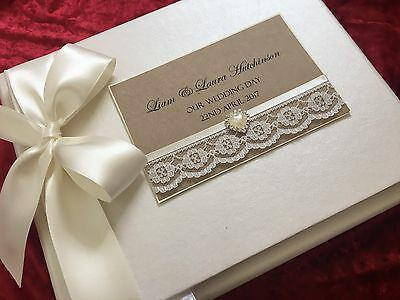 Ivory Vintage Guest Book Boxed Luxury PERSONALISED Lace Wedding