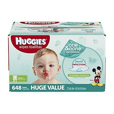 Huggies HUGGIES One & Done Refreshing Baby Wipes, Refill, 648 Count