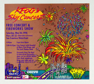 Roomful of Blues Pete Droge Scott Thomas  Poster KFOG Sky Concert 1998 May 30