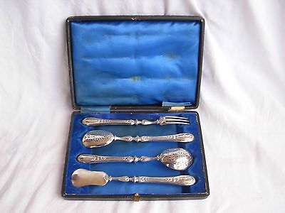 ANTIQUE FRENCH STERLING SILVER DESSERT SERVING SET,LATE 19th CENTURY.