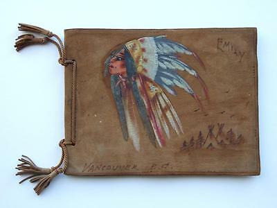 Vintage Native American Indian Hand Crafted Deerskin Photo Album - Book.