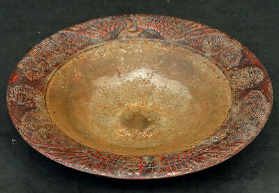 Antique BUDDHIST TEMPLE Red Painted CAST IRON CHINESE Bowl / Incense Censer