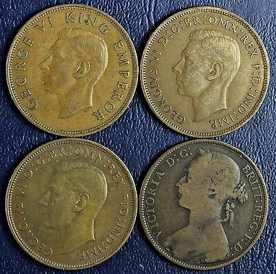 1893, 1938, 1939 Great Britain & 1941 New Zealand One Penny Coins