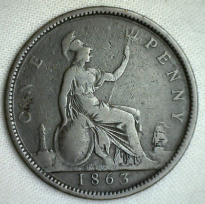 1863 Great Britain Penny Fine Bronze One Cent English GB Coin #P