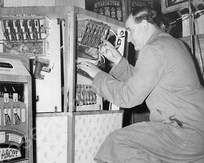 Auto Fruit EM Slot Machine Fixed  By Man Vintage 8x10 Reprint Of Old Photo