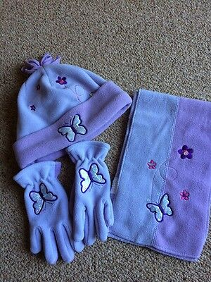 Lilac/purple HAT SCARF & GLOVES / Age 2-6 Years