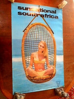 C 1960S Original Tourist Travel Poster Sunsational South Africa Beach Swing Gal