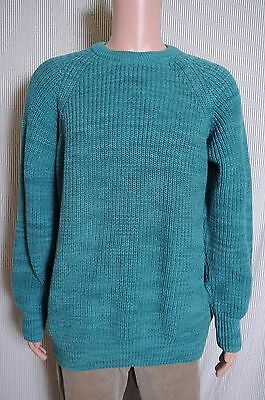 Vintage L.L. Bean Men's Crew Neck Heavy Cotton Knit Teal Green Sweater XL USA
