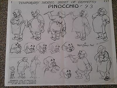 "Disney Pinocchio Model Sheet Of ""geppetto"" - 1940"