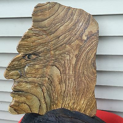 VTG CHIEF CRAZY HORSE OGLALA LAKOTA SIOUX WOOD CARVING SCULPTURE 1940's REDUCED