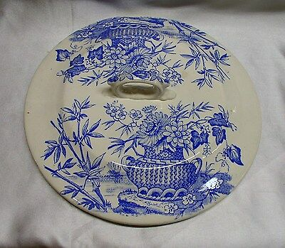 antique chamber pot lid w blue floral transferware on white ironstone