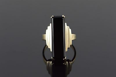 10K 24x8mm Black Onyx Tiered Ring Size 7.75 Yellow Gold