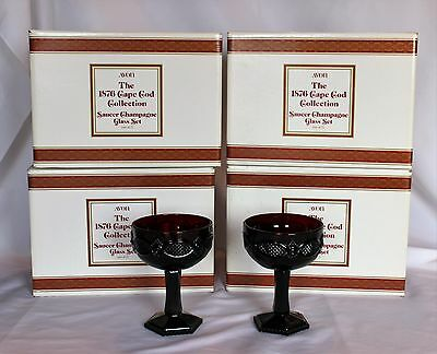 Vtg Lot of 4 Sets Avon Cape Cod Ruby Red Saucer Champagne Glasses (8 pieces)