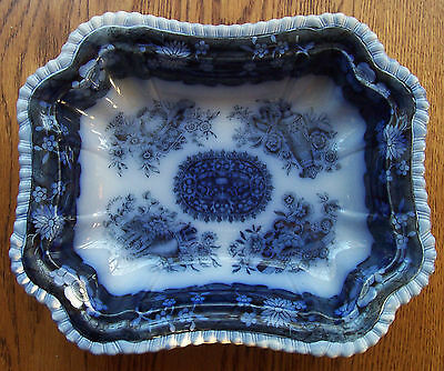 Antique English Blue & White Serving Dish Copeland Spode Chinese Trophies