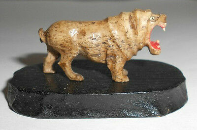 Antique Small Miniature Hand Carved Hand Painted Hippo w Black Wooden Platform