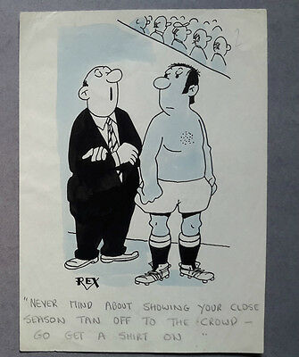 "Football Tan by Rex, 1970's, Daily, Original Art - 6"" x 8"""