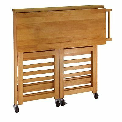 Winsome Wood Foldable Kitchen Cart with Knife Block, Light Oak