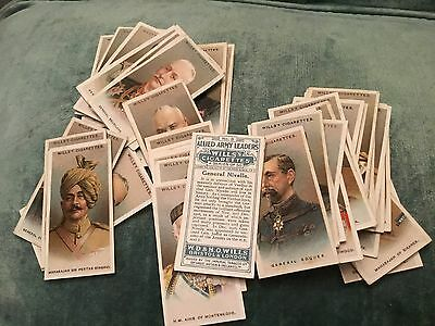 """Wills 1917 Interesting ( Military ) Full 50 Card Set """"""""  Allied Army Leaders  """""""""""