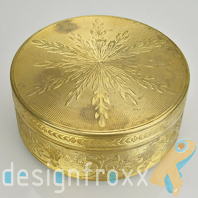 Antique French Engine Turned Guilloche Ormolu Trinket Box Gilt Brass or Bronze