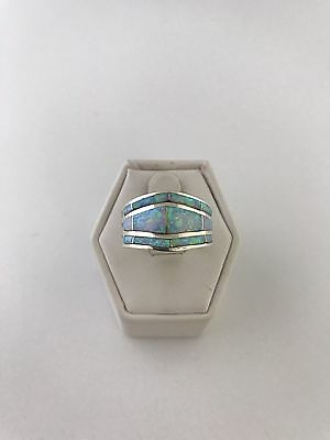 Native American Sterling Silver Zuni White Opal  Inlay Ring Size:  8.25