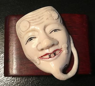 Authentic, Signed Late 18Th-19Th Cent(Meiji?) Netsuke Mask-Handcrafted-Very Old