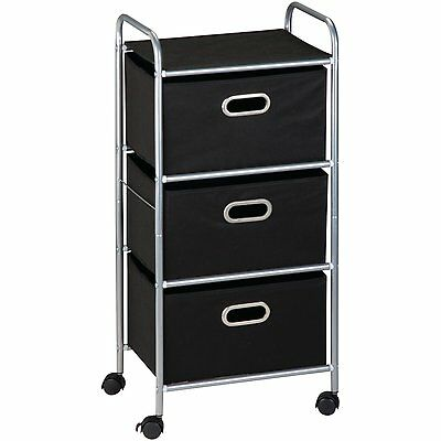 Honey-Can-Do CRT-02184 3-Drawer Rolling Fabric Cart, Black