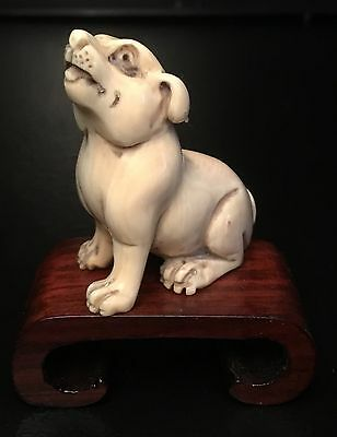 Authentic, Signed Late 18Th-19Th Cent(Meiji?) Netsuke Dog-Handcrafted-Detailed