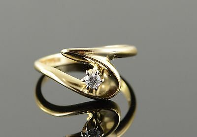 14K 0.07 CT Diamond Free Form Bypass Ring Size 6 Yellow Gold