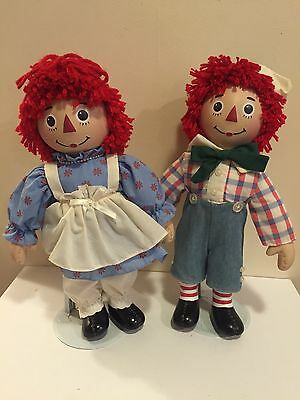 Collectible Raggedy Ann & Andy The Original Doll With A Heart Set Porcelain