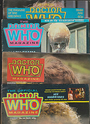 (4)LOT Marvel Monthly DOCTOR WHO Magazine #88,99,119,94 1981,see all pics
