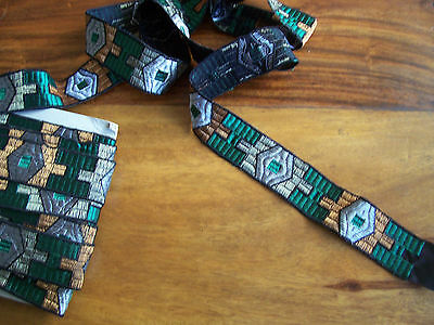 Fabric ribbon embroidered trim 3.5cm x 9.8m green gold and silver