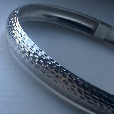 Vintage 925 Sterling Silver Bangle Bracelet 9mm 5.6g 7 1/4 Inch