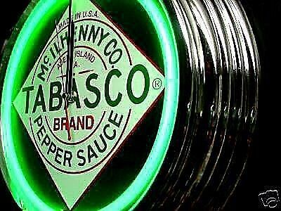 Tabasco Garage Billiards Pool Garage Man Cave Neon Bar Pub Sign Clock