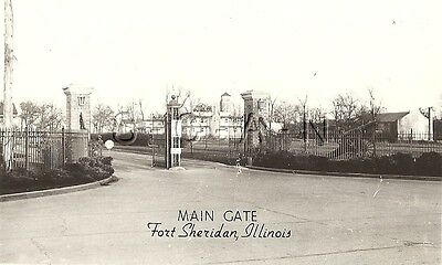 WWII Vintage Army EKC RPPC- Front Gate- WWI Artillery- Fort Sheridan Illinois