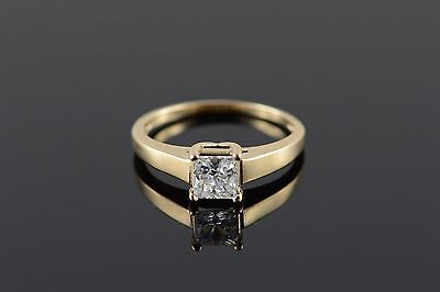 10K 0.75 CT Princess Cut CZ Solitaire Engagement Travel Ring Yellow Gold *47